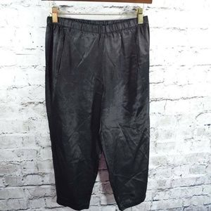 VINCE Black Satin Cropped Pull On Pockets Pants XS